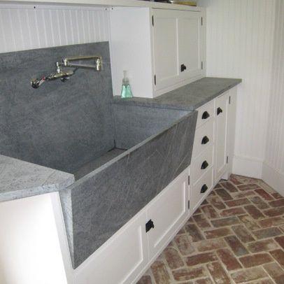 custom made sink / dog washing basin made from soapstone slabs