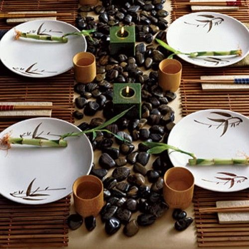Ideas for home DIY rock. This site is in Thai but can be translated to english or just use the visual display. I thought this would be a lovely table for an asian style dinner that I had to include it.