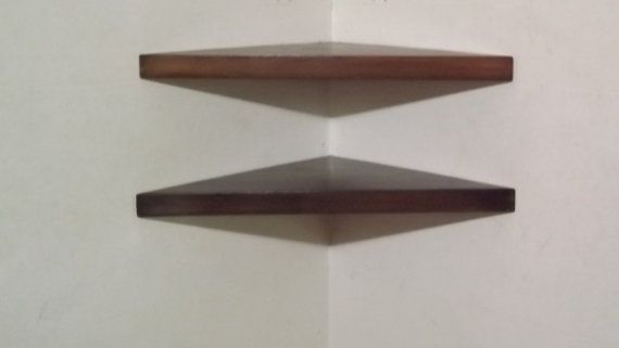 Set of 2 22 inch Floating Corner Shelves with by BAwoodworking