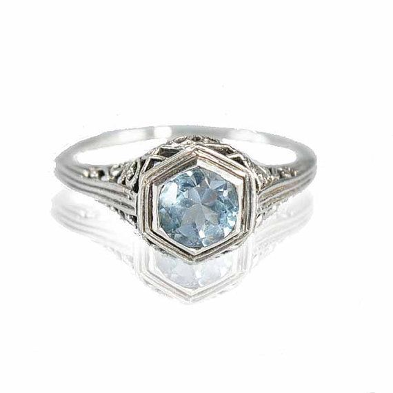Sterling Silver Filigree Aquamarine Ring Size 6.5 Engagement Ring Art Deco Wedding Jewelry on Etsy, US$ 85.00