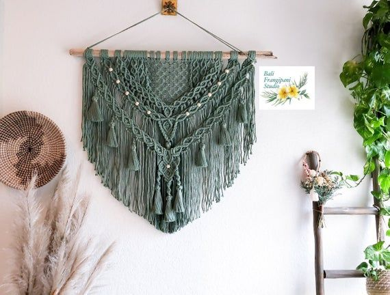 "Plants Dye 40"" XL Macrame Wall Hanging, Boho Wall Decor, Bohemian Decor, Bali Art, Macrame Headboard, Macrame Tassel, Textile Fiber Art"