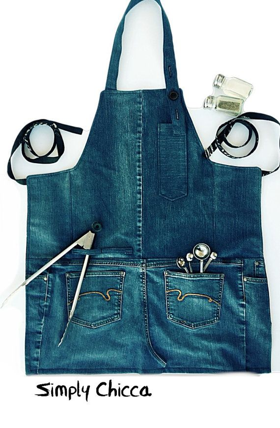 Holiday gifts, gifts for men, husband gifts, brother gifts, handmade denim apron, barbecue apron
