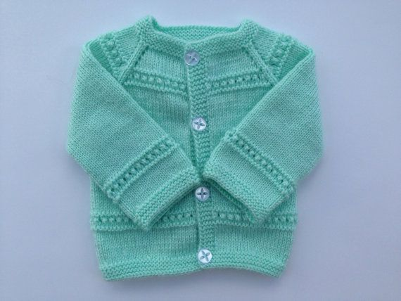 Hand Knitted Baby Cardigan  Sweater Newborn 0-3 Months by olinnell