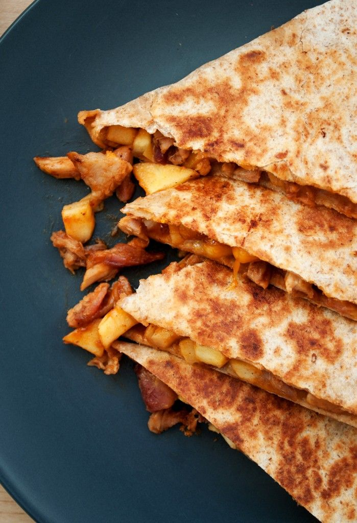 Sweet & Smokey Pulled Pork Quesadilla    Pulled Pork  2 Tbsp Bulls-Eye barbecue sauce  1 Tbsp Agave Nectar  ¼ of an Apple  Cheddar cheese (Brie would taste excellent with this though!)