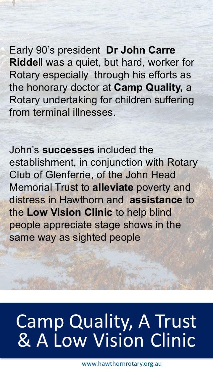 Dr John Carre-Riddell's year as President. Go Dr John!!