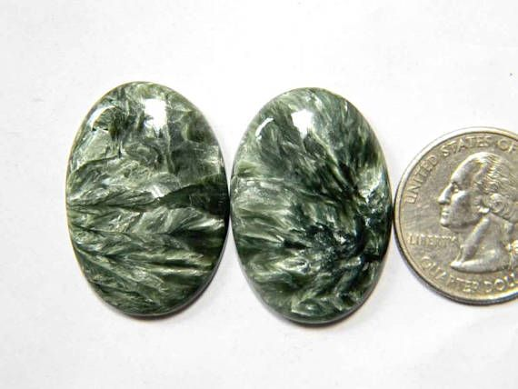 2 Pieces Lot Seraphinite Loose Gemstone Cabochon Lot Oval