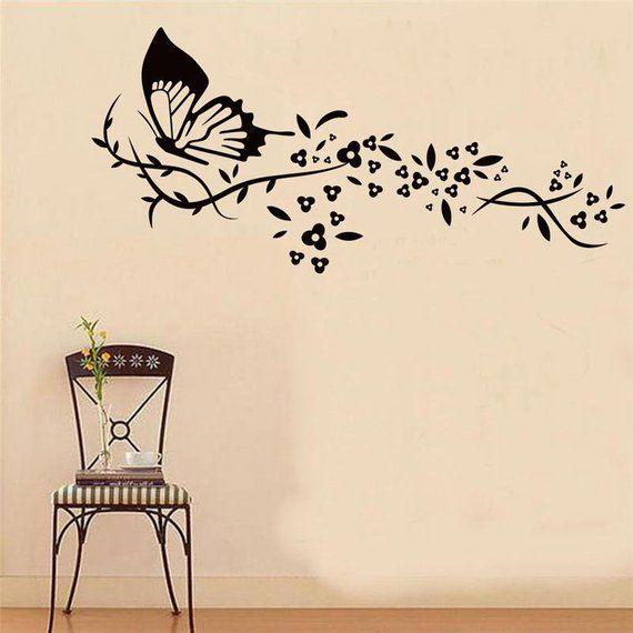 Wall Tattoo Flowers Vine Flowers Wall Stickers Living Room Wall Sticker Black Motif