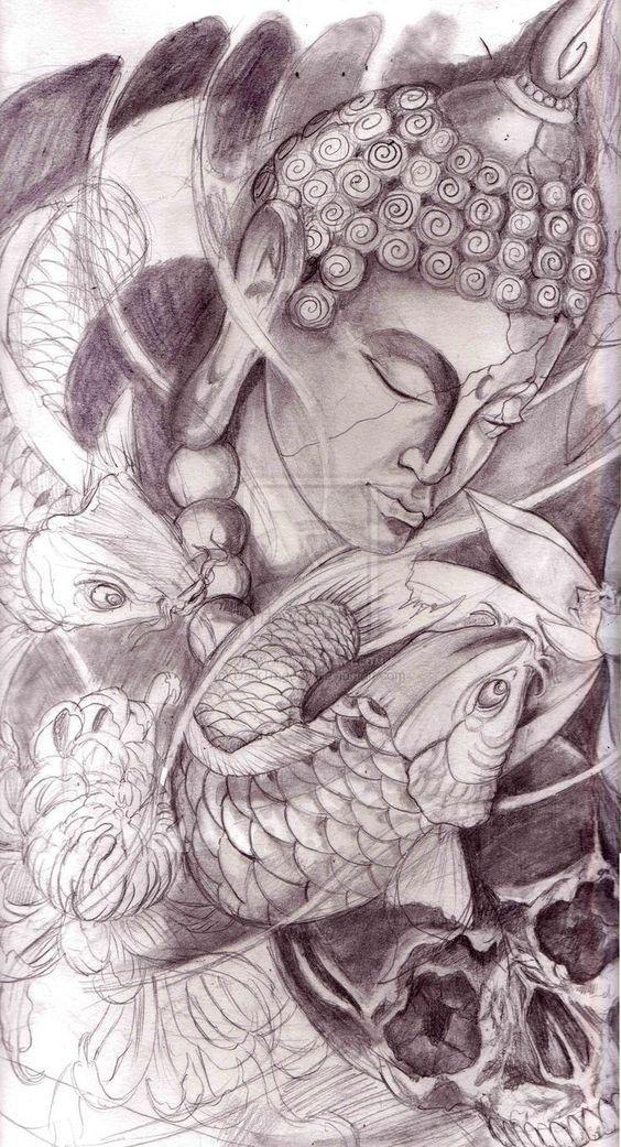 Buddha Head Drawing Pesquisa Google Tatuagem Fechamento De