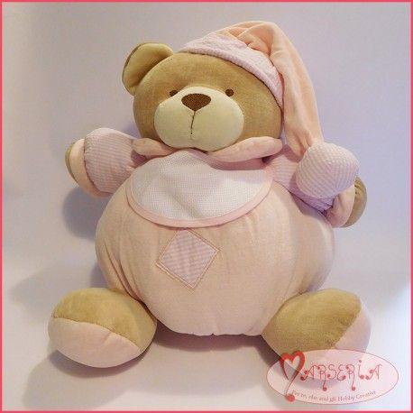 Pupazzo peluche orsetto orso da ricamare tela aida altezza 30cm rosa