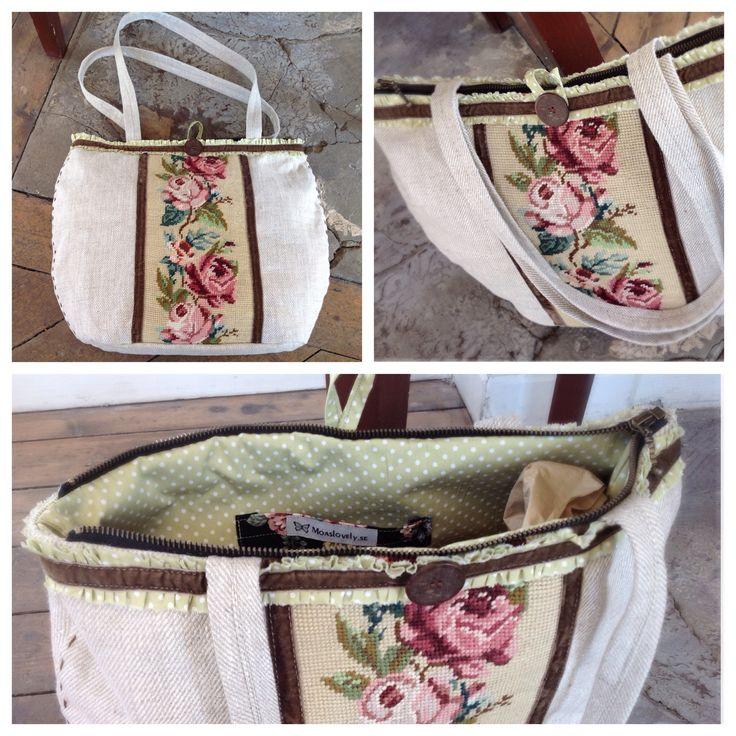 Bag/axelremsväska med vintagebroderi, rosor 1