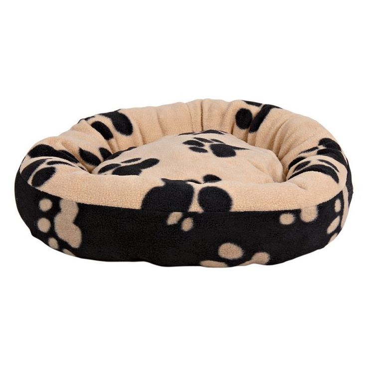 Round Pet Bed Cat Kitten Puppy Dog Cushion Black Beige Pets Cats Large Warm Uk