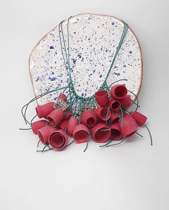 Сocoons necklace .  Pink Silk.  silkworm cocoons by AjurForm