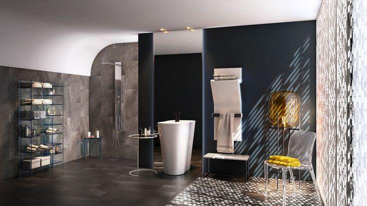 Les objets tendent ici à se fondre dans le décor de la salle de bain. Les meubles sont fonctionnels et discrets. Pas de gadget. Chaque élément de la salle de bain s'insère de la manière la plus simple et discrète possible. A cela s'ajoute l'économie d'espace par une réduction des cloisonnements intérieurs. Jouez le style minimal pour une salle de bain qui joue sur la transparence et la sobriété.