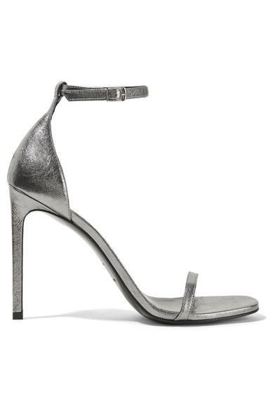 Saint Laurent - Jane Metallic Textured-leather Sandals - Silver - IT36