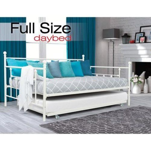 Daybed Full Size Bed Trundle Frame Dorm Bedroom Metal Roll Out Sleeper Kids  #dhp