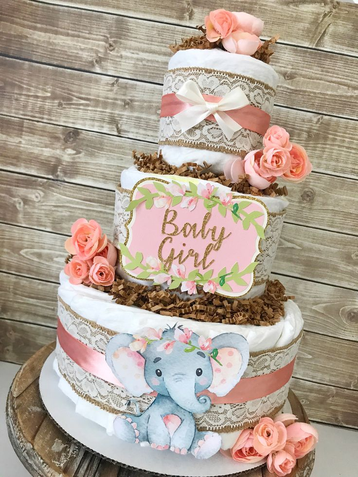 Floral Elephant Diaper Cake, Elephant Baby Shower Centerpiece for Girls, Elephant Baby Shower Decorations in Pink by AllDiaperCakes on Etsy https://www.etsy.com/listing/582788511/floral-elephant-diaper-cake-elephant