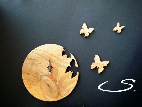 Wooden Walnut Wall Modern Clock with Butterflies Free by svetli79, $49.00