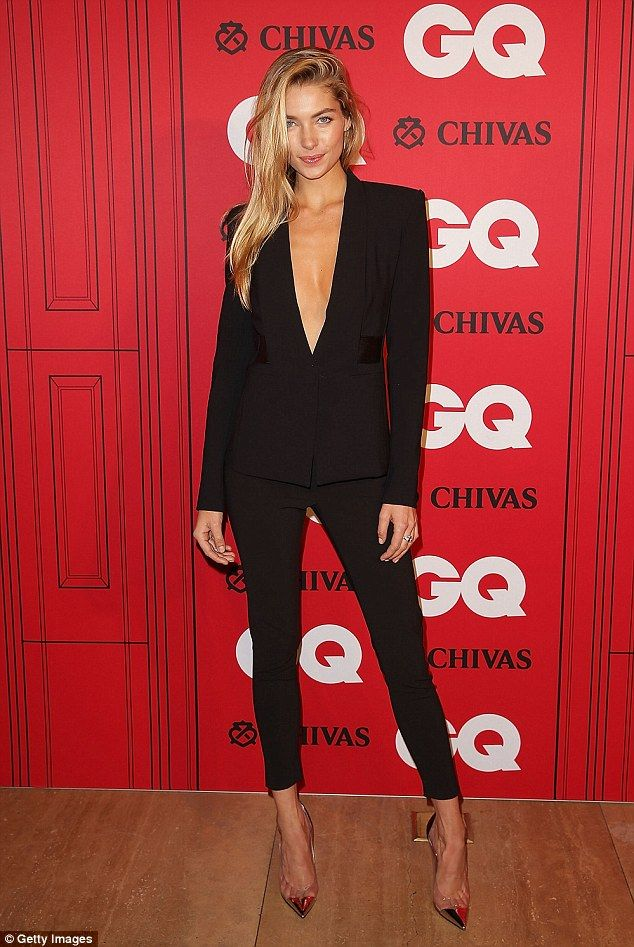 Sharp: Australian Model Jess Hart looked smart in a black suit and gold toe capped heels at the GQ Men of the Year awards at the Ivy Ballroo...