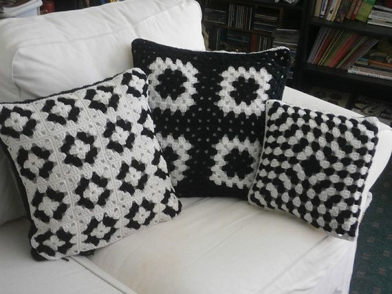 CROCHET PILLOW SET black and white granny square by afghansbyanne