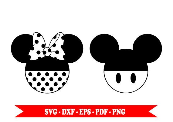 Mickey Mouse And Minnie Mouse Svg Silhouette Head Clip Art