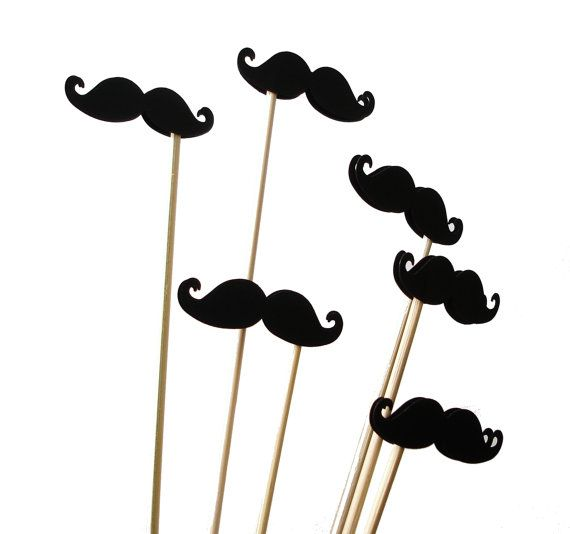 12 Black Mustache Photo Booth Props, Wedding Photo Props, Props on a Stick, Mustache on a Stick, Mustache Skewers, Cupcake Toppers - No470