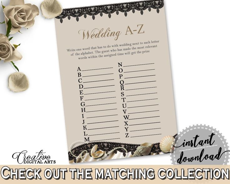 Wedding A-Z Game in Seashells And Pearls Bridal Shower Brown And Beige Theme, abc bridal, sea and pearls, prints, digital print - 65924 - Digital Product bridal shower wedding bride to be bridesmaids