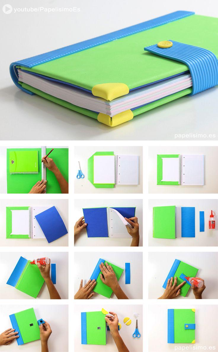 Cómo decorar libretas con goma eva   Manualidades