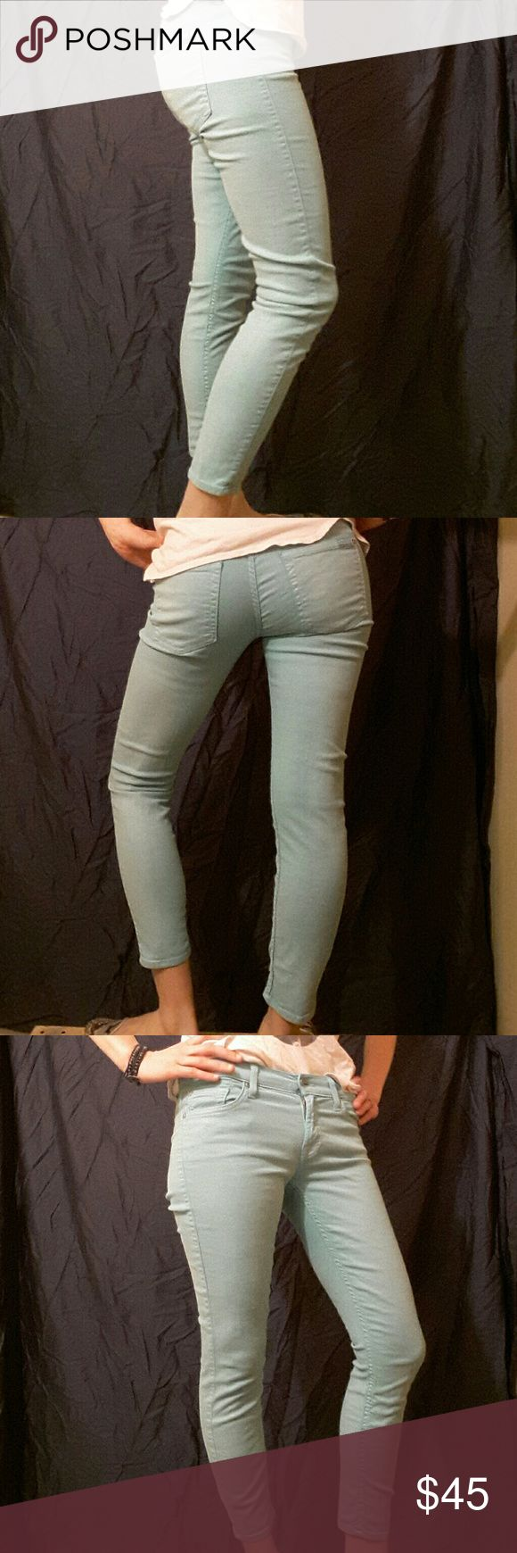 """7 For All Mankind baby blue skinny pants These baby blue 7 For All Mankind skinny pants are super cute for spring and summer. These have a bit of a silver shimmer to them that set then apart. Size 27 but fit like a size 4. Inseam is 24"""" 7 For All Mankind Jeans Skinny"""