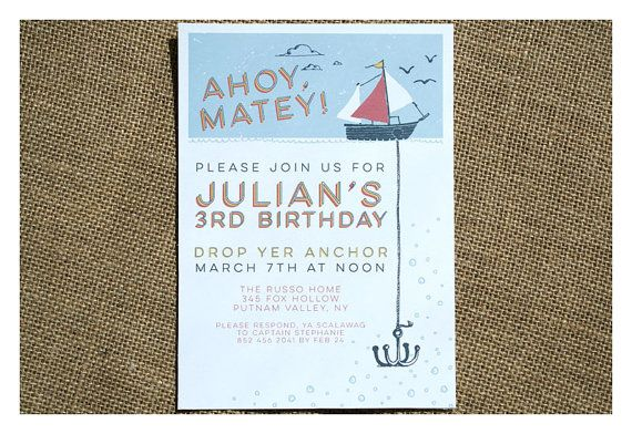 Boat and Anchor Birthday Party Invitation  by SparetireDesign