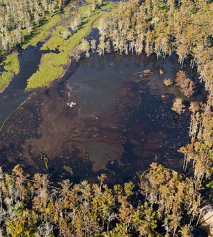 Bayou Frack-Out: The Massive Oil and Gas Disaster You've Never HeardOf  For residents in Assumption Parish, the boiling, gas-belching bayou, with its expanding toxic sinkhole and quaking earth is no longer a mystery;  Geologists and state officials now believe that Texas Brine's production cavern below Bayou Corne collapsed from the side and filled with rock, oil and gas from deposits around the salt formation