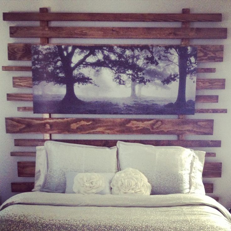 Wooden headboard. My hands hurt after sanding those boards, but totally worth it. #project1 #homemade #headboard #wood