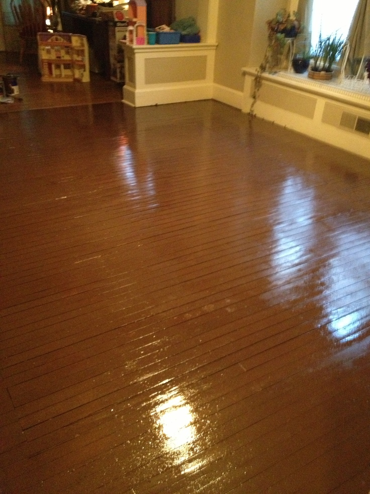 I Got The Idea To Paint My Crappy Wood Floor Not Worth Refinishing From Fluffandfineryblogspot