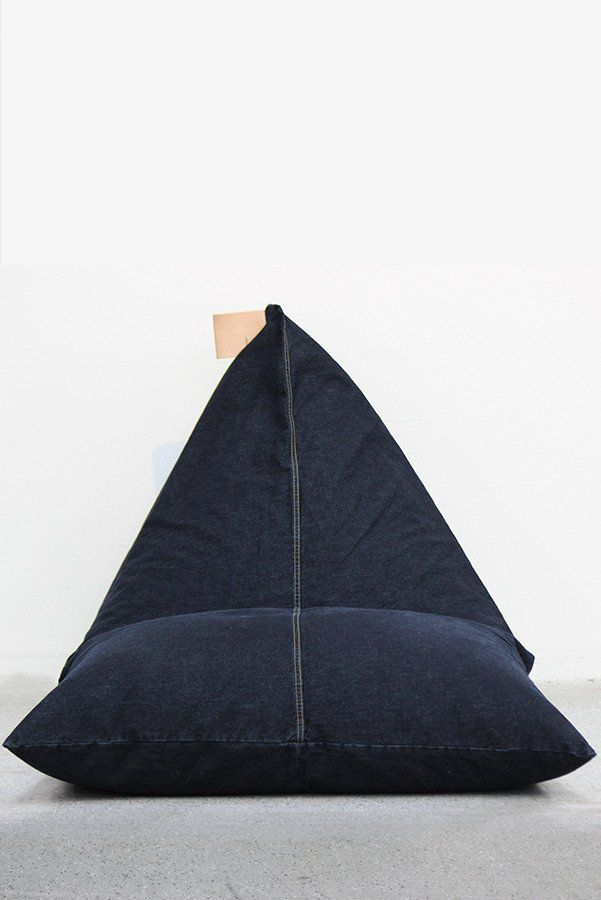 Bean Bag - Dark Denim with natural leather handle
