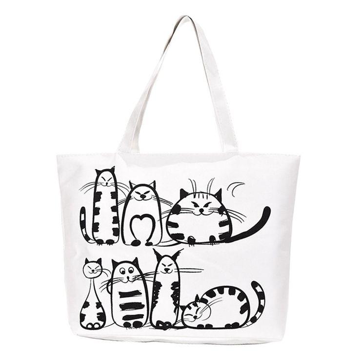 TANGIMP New Cartoon Cats Printed Female Shopping Tote Bag Big Canvas Handbag Women's One Shoulder Crossbody Bag Student Bookbag