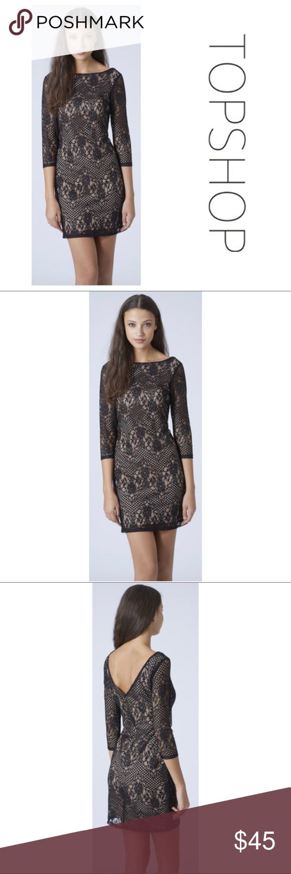 Topshop Lace Overlay BodyCon Dress Size 12 Topshop Lace Overlay BodyCon Dress Size 12 is brand new and has never been worn! Beautiful Lace overlay is elegant and classy. Can be worn to any event and looks amazing when paired with strappy heels or stilettos! Features Sheer Lace arms and hidden zipper back as well as a deep V back. Size 12 Topshop Dresses Long Sleeve
