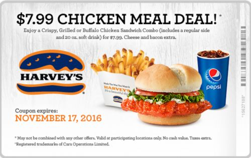 Harveys Restaurants Canada Coupons: $7.99 For Chicken Meal Deal! http://www.lavahotdeals.com/ca/cheap/harveys-restaurants-canada-coupons-7-99-chicken-meal/133852