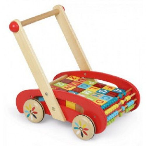The ABC Walker from Janod is a gorgeous and colourful baby walker filled with wooden blocks and featuring a four row abacus which offers plenty of movable wooden beads for playing with colours and counting. #alltotstreasures #janod #abcwalker