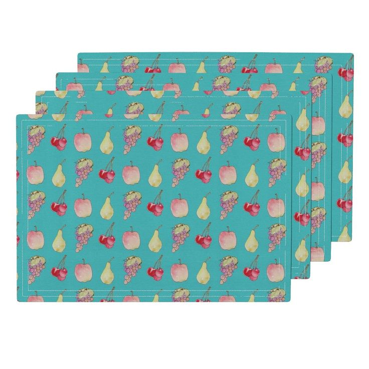 Lamona Cloth Placemats featuring Valley_Fruit Teal by wildflowerfabrics | Roostery Home Decor