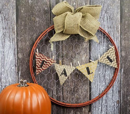 Fall Upcycle Country Wreath -- Create a unique wreath from an over-sized embroidery hoop. #decoartprojects #decoart #falldecor