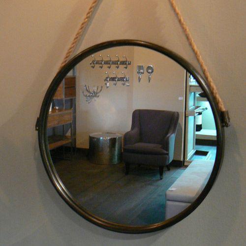 Miroir rond en métal noir avec corde de suspension Athezza