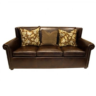 Longford Leather Old World Style Sofa