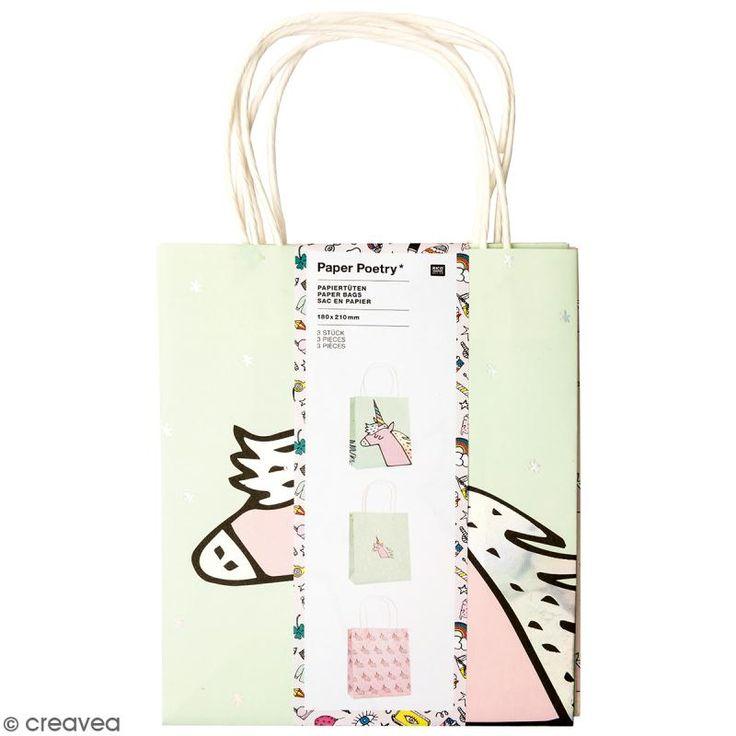 Set de bolsas de papel - Magical summer unicornio - 18 x 21 cm - 3 uds