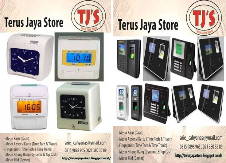 """Terus Jaya Store serves order """"Electronic Office Equipment"""" that could be reached via internet.  1. CashRegister(Casio). 2. ElectricTimeRecorder(Time Tech,Cooper). 3. Fingerprint(TimeTech,TimeTronic). 4. ElectricTypewriter(Nakajima,Brother). 5. BindingMachine(Gemet,Offistar). 6. CounterMoney(Dynamic,Secure,TopCash)  7. Laminiting Machine (Gemet,Offistar). 8. CCTV (Avtech). Do not be hesitate to contact us for further information and order  Call: TJS/08159898965/ arie_cahyanas@ymail.com"""
