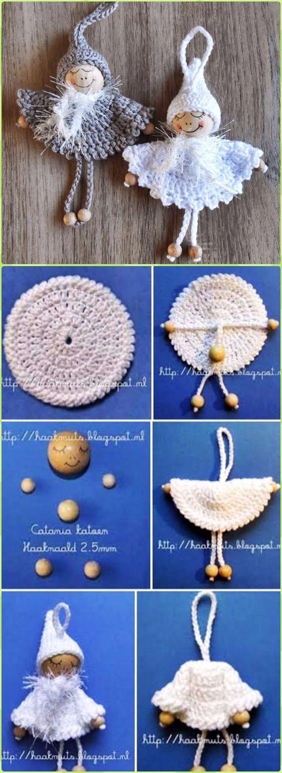 Crochet Wood Bead Circle Christmas Angel Free Pattern - Crochet Angel Free Patterns