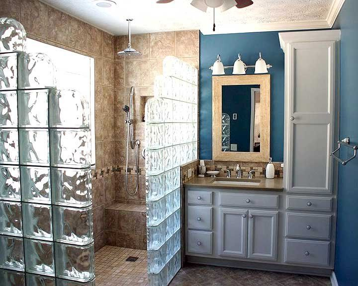 walk-in shower with glass block surround