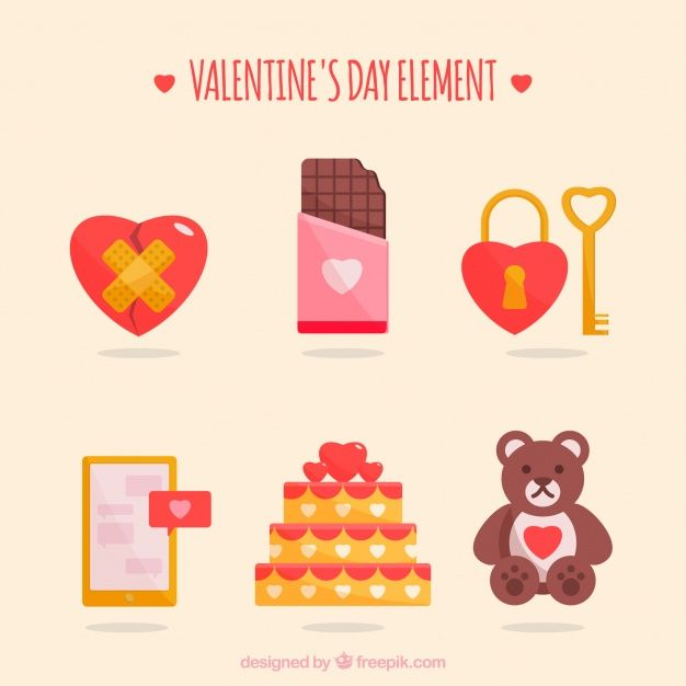 Valentine's day element collection Free #Vector