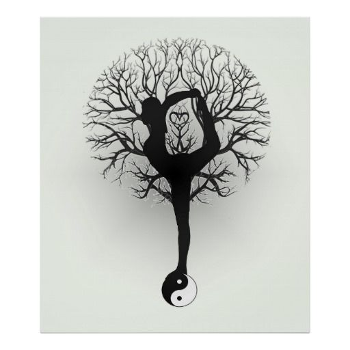 yin yang tree of life women yoga poster customizable and personalized gifts pinterest. Black Bedroom Furniture Sets. Home Design Ideas