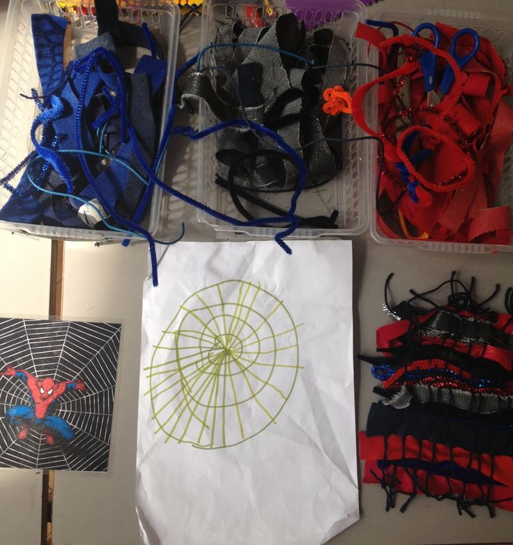 Spider-Man inspired weaving. Great fine motor activity for Early Years.
