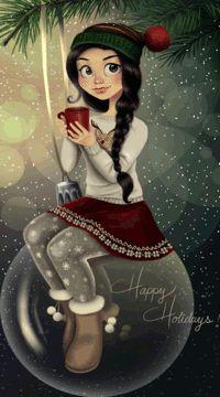 99px.ru аватар Девушка с горячей чашкой чая сидит на новогоднем шаре, (Happy Holidays / Счастливых праздников), автор C-Cassandra