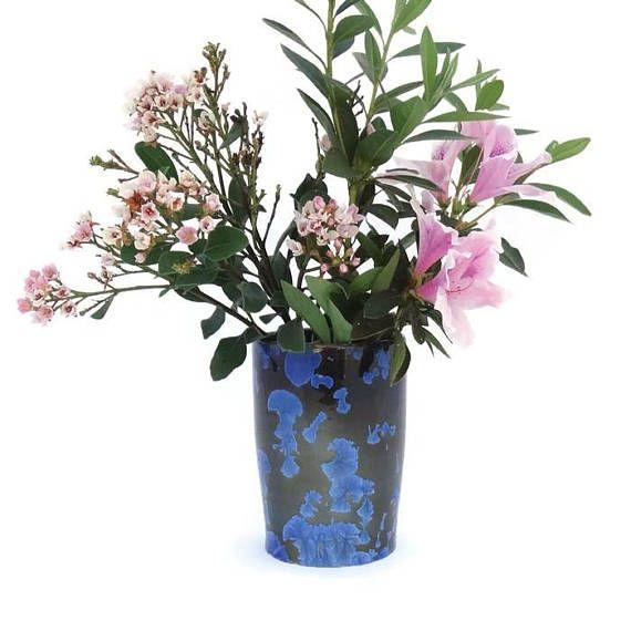Crystal Glazed Ceramic Vase with Deep Blue Crystals on a Black